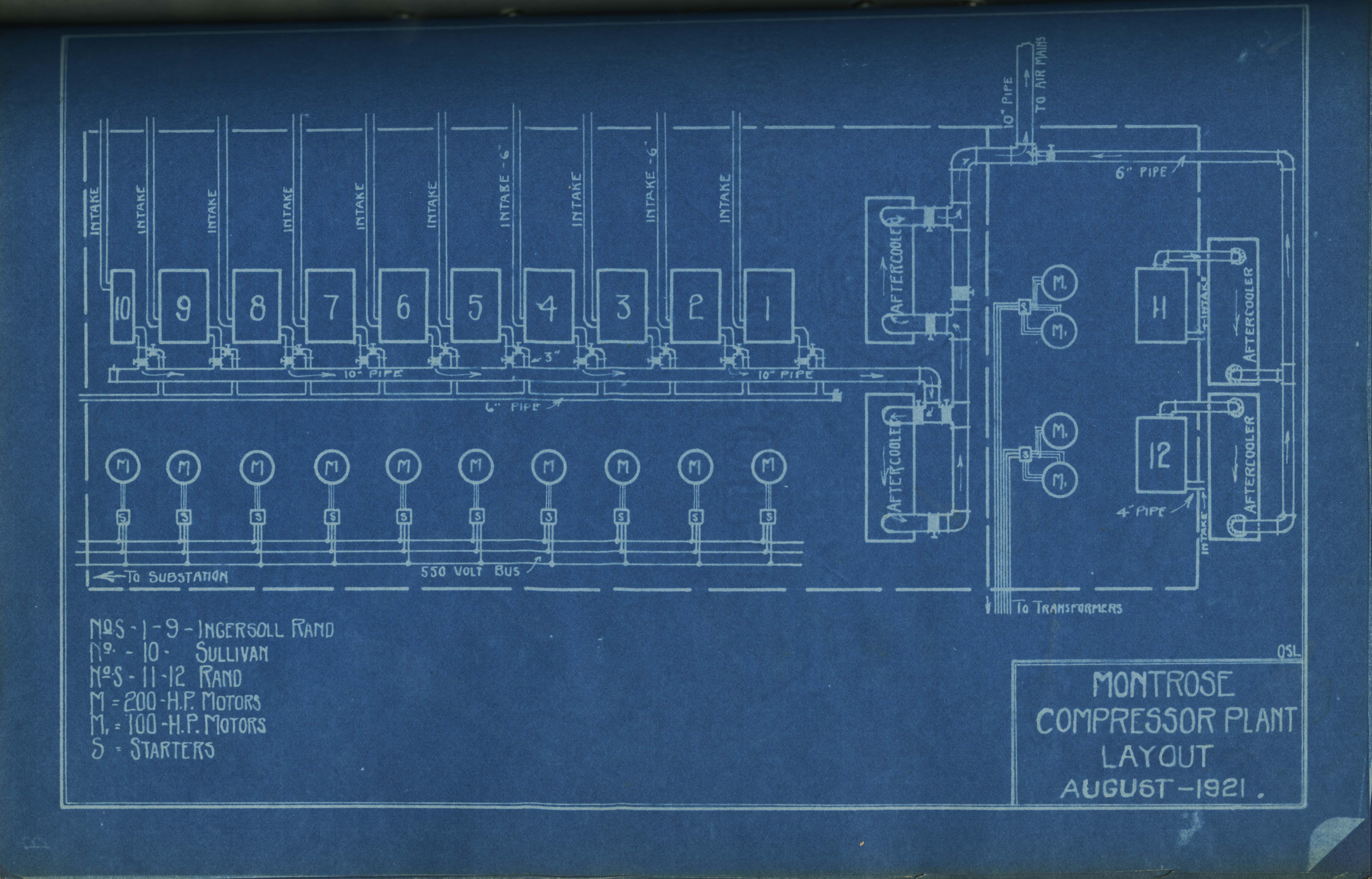 Photograph Montrose Compressor Plant Layout Blueprint