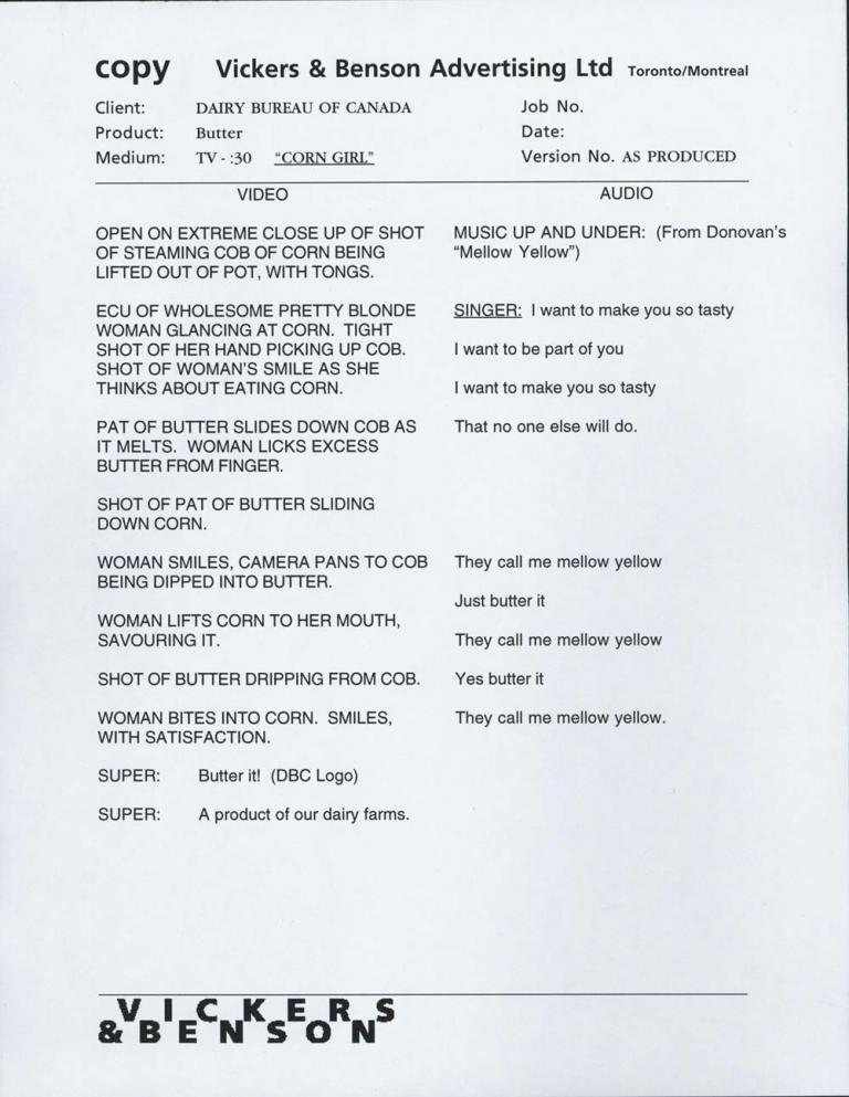 Television script for Corn Girl