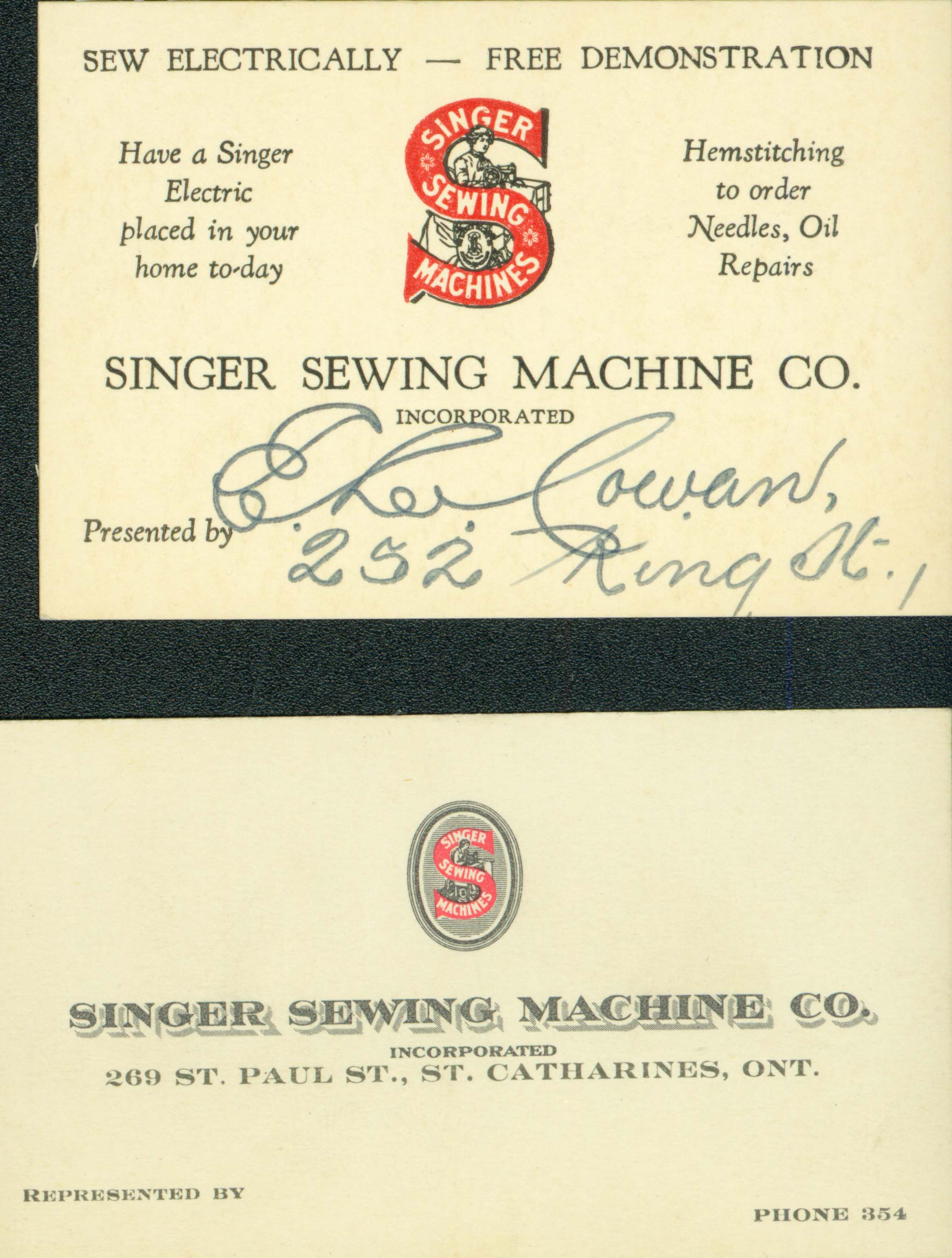 Business card singer sewing machine co singer sewing machine 1g 5106kb magicingreecefo Images