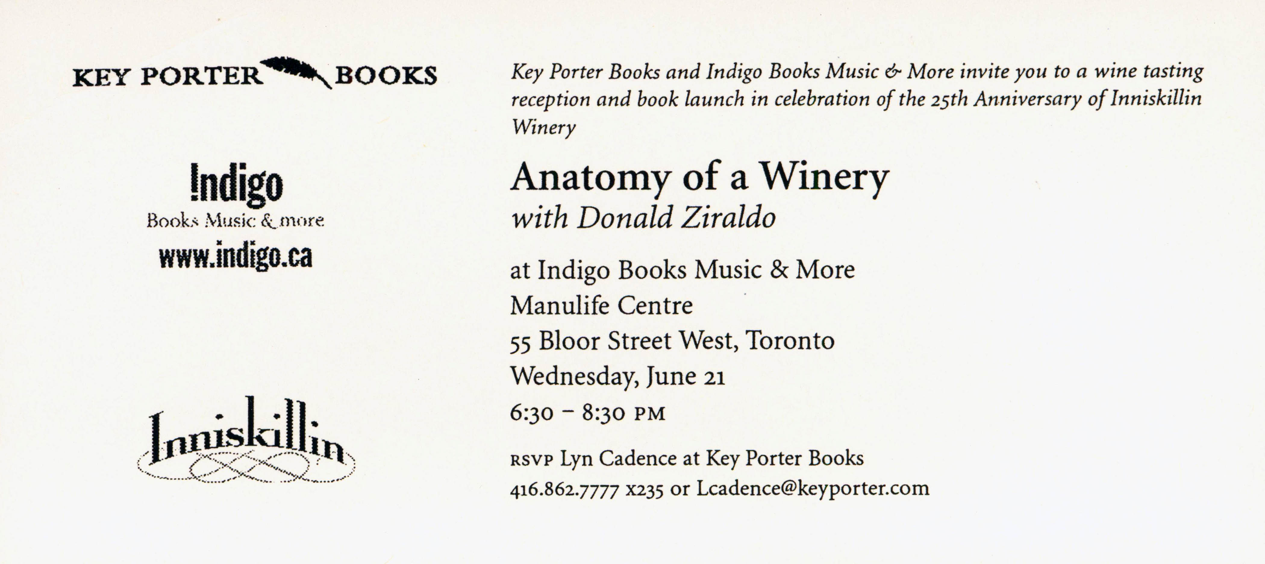 Invitations - Two Book Launch parties for Anatomy of a Winery ...