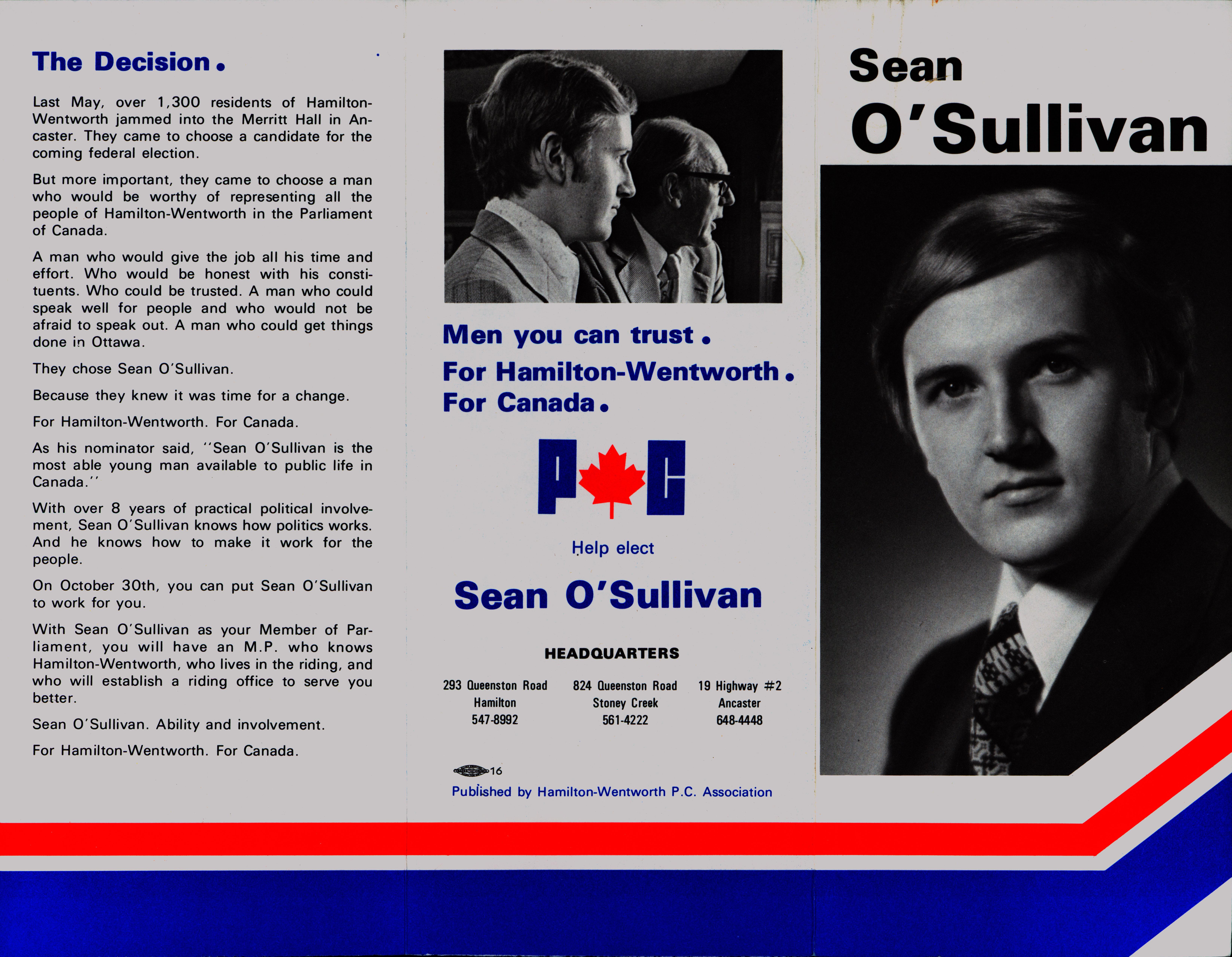 Sean O'Sullivan Campaign Election Brochure