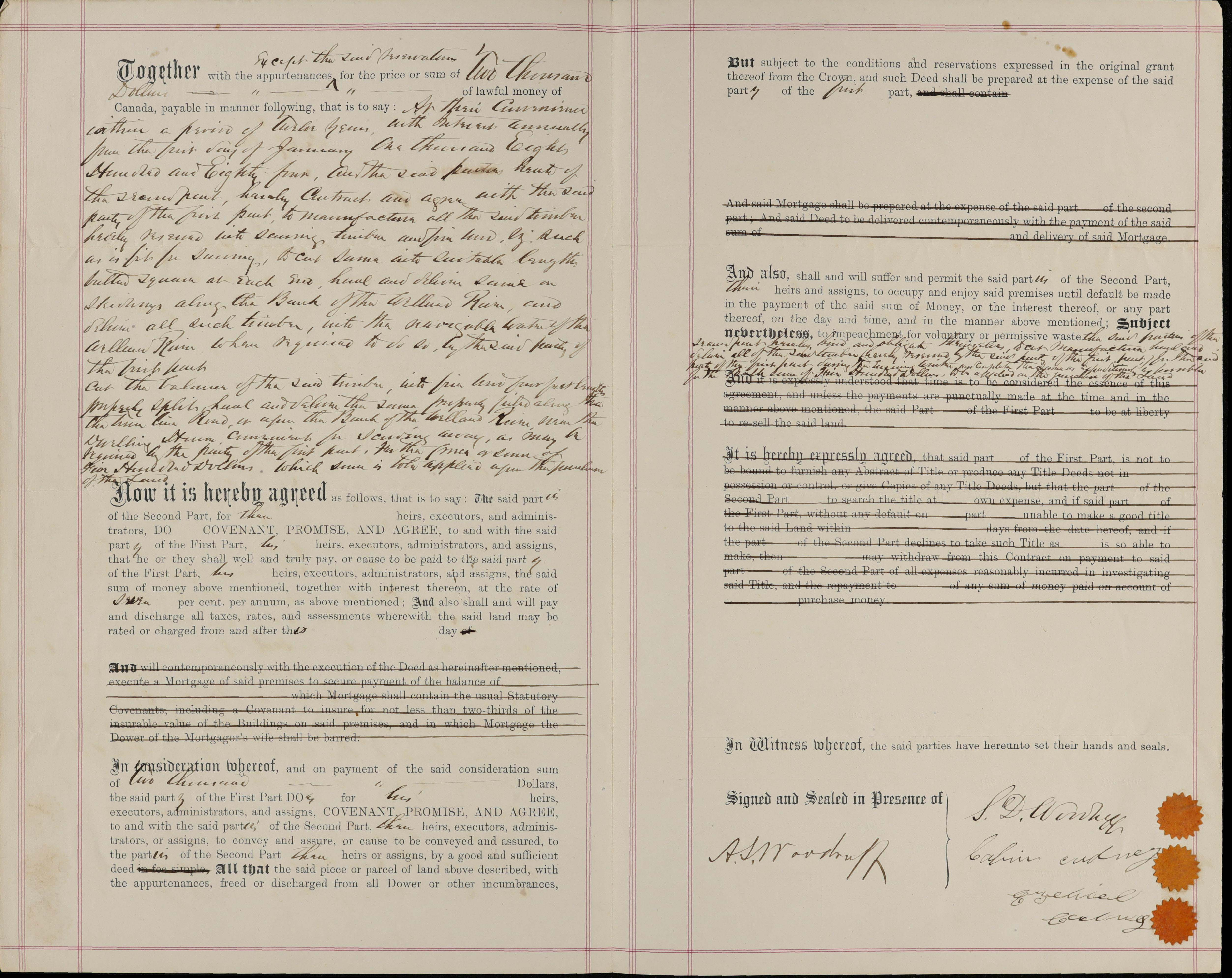 Indenture Of Agreement For Sale Of Land Between Samuel Woodruff To
