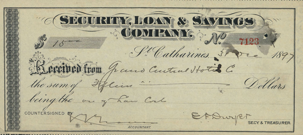 Security Loan Savings Company receipt – Company Receipt